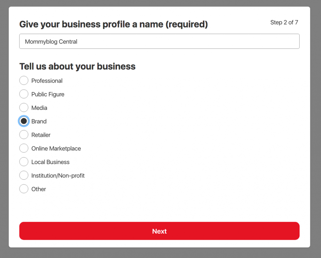 Screen capture of Pinterest screen allowing users to name their business account and choose what type of business they have