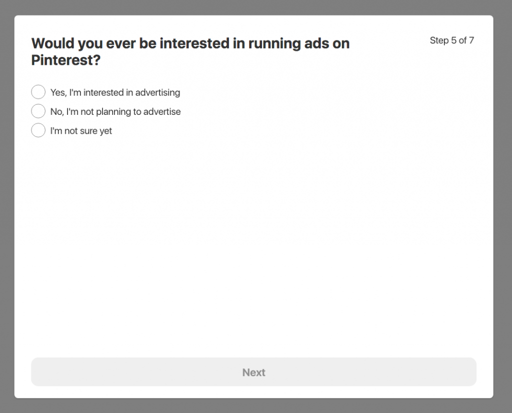 Screen capture of Pinterest dialog asking if you are interested in running ads