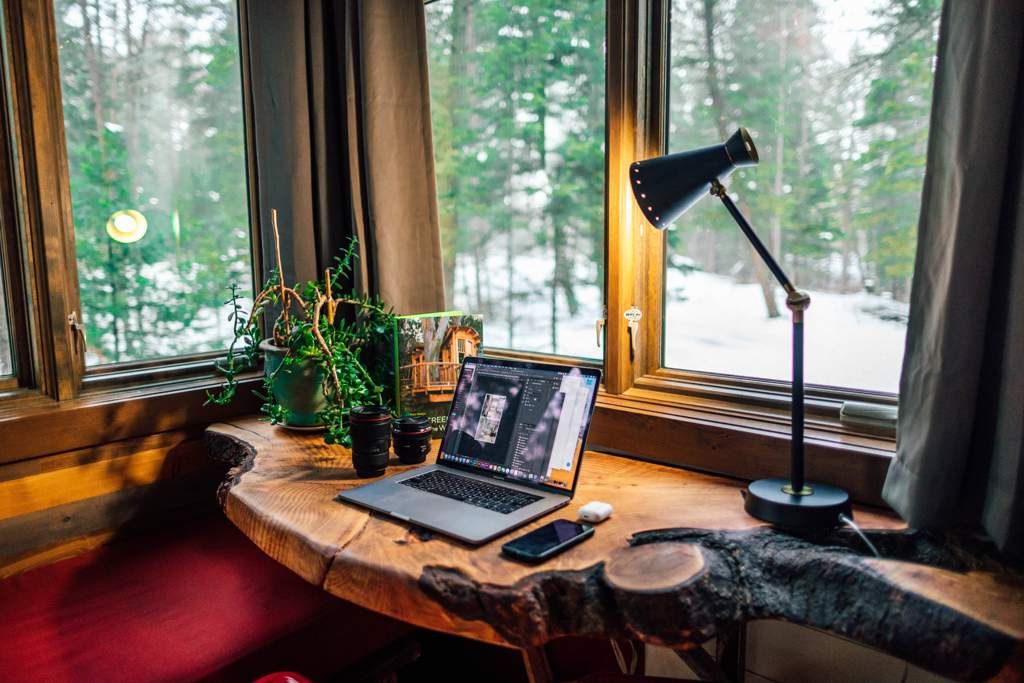 Rustic desk made from a tree sits in front of a window looking out onto a snowy scene. There is a laptop on the desk as well as a plant and a standard lamp. Appears to be an office in a country cabin.
