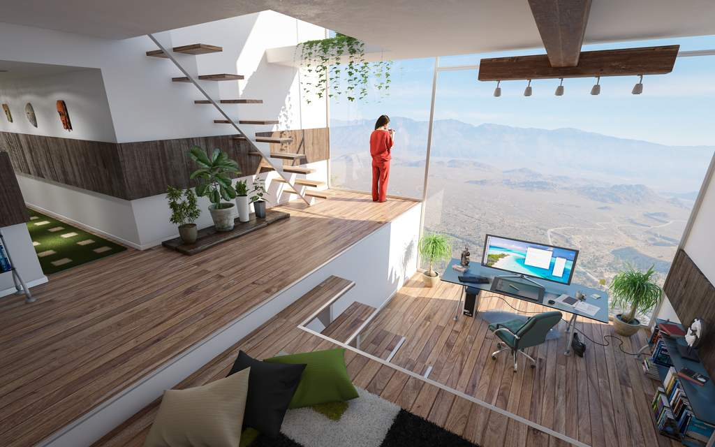 Open plan ultra-modern house with wooden floor. Facing us is an enormous window with an amazing view to distant mountains. In front of the window is a home office area with desk, chair and large monitor. A woman wearing red is standing at the window looking out at the view.