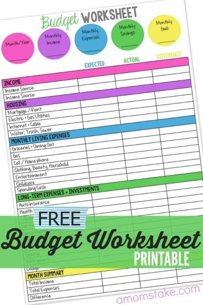 Colorful budget worksheet with colored category headings and the text Free Budget Worksheet Printable