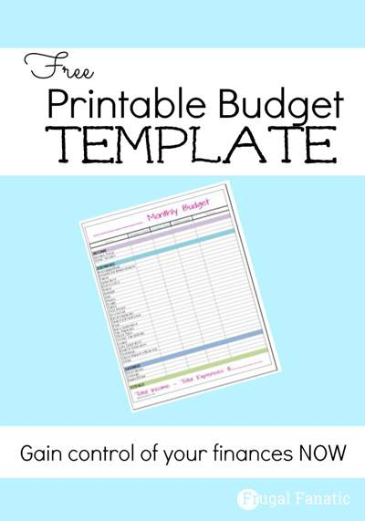A monthly budget sheet on a light blue background with the text Free Printable Budget Template