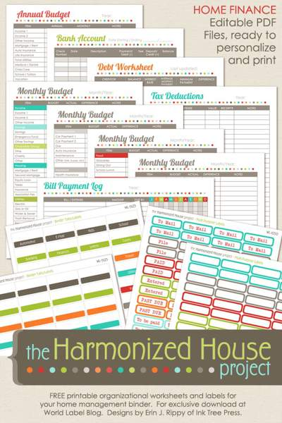 13 Printed budget sheets with colored headings for different categories. Text overlay reads The Harmonized House Project