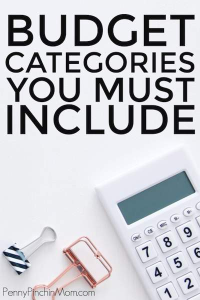 Desktop with calculator and two bulldog clips and the text Budget Categories You Must Include