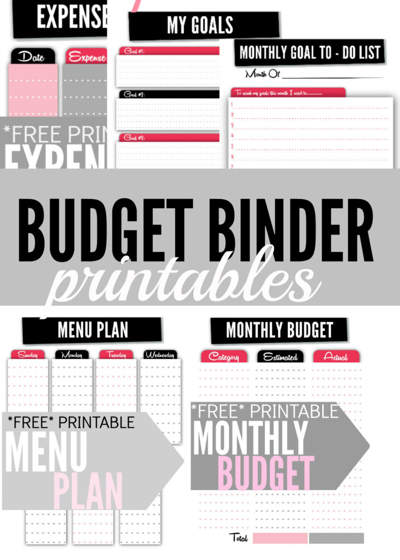 Image of black and red printed sheets including Expenses, My Goals, Monthly Goal To Do List, Menu Plan and Monthly Budget with text overlay that reads Budget Binder Printables.