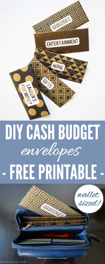 Patterned envelopes labelled Groceries, Entertainment, Home, Gifts, Lauren's Fun Money. Text overlay reads DUY Cash Budget envelopes Free Printable. second image shows the envelopes in a wallet.