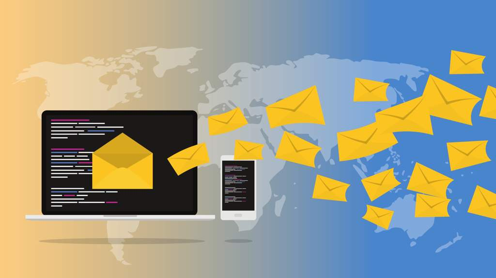 Illustration showing yellow envelopes flying from a computer across a map signifying email.