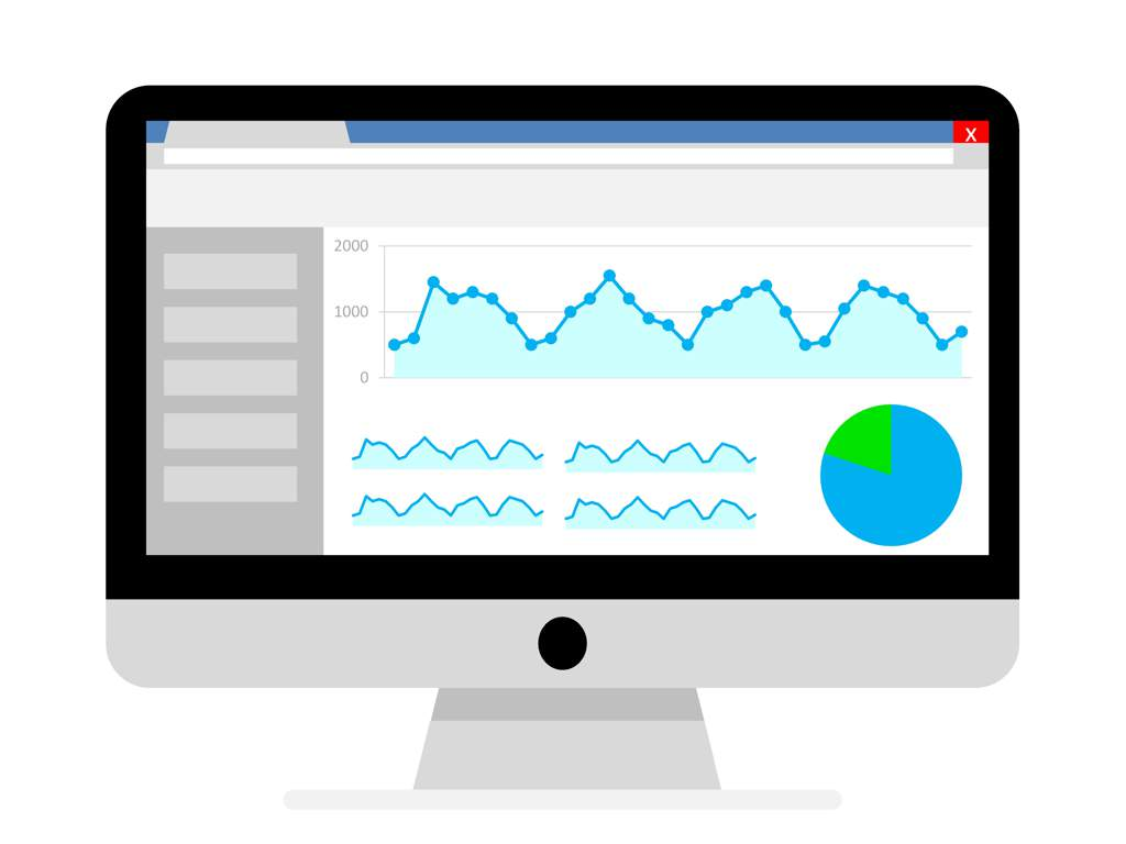 Illustration of a Google Analytics screen showing website traffic.