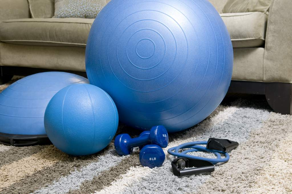 Various items of blue exercise equipment including two balls, a wobble-board, dumbells and a skipping rope on a rug in front of a sofa.