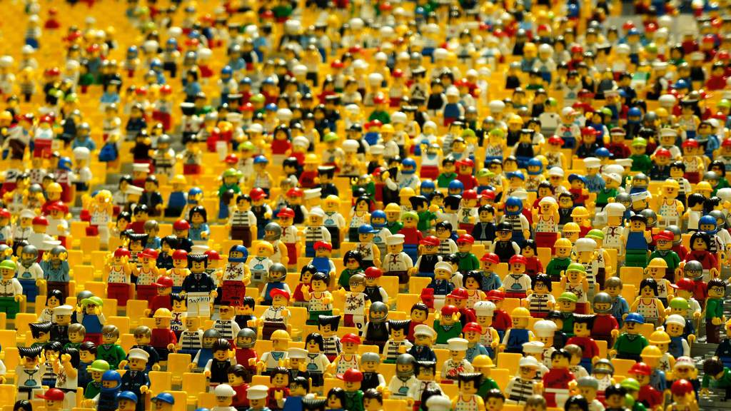 A huge crowd of lego figurines.