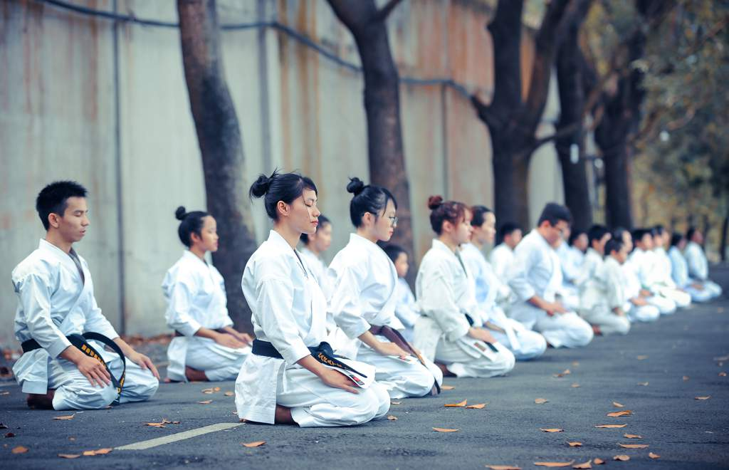 Two rows of martial artists kneeling with their eyes closed.