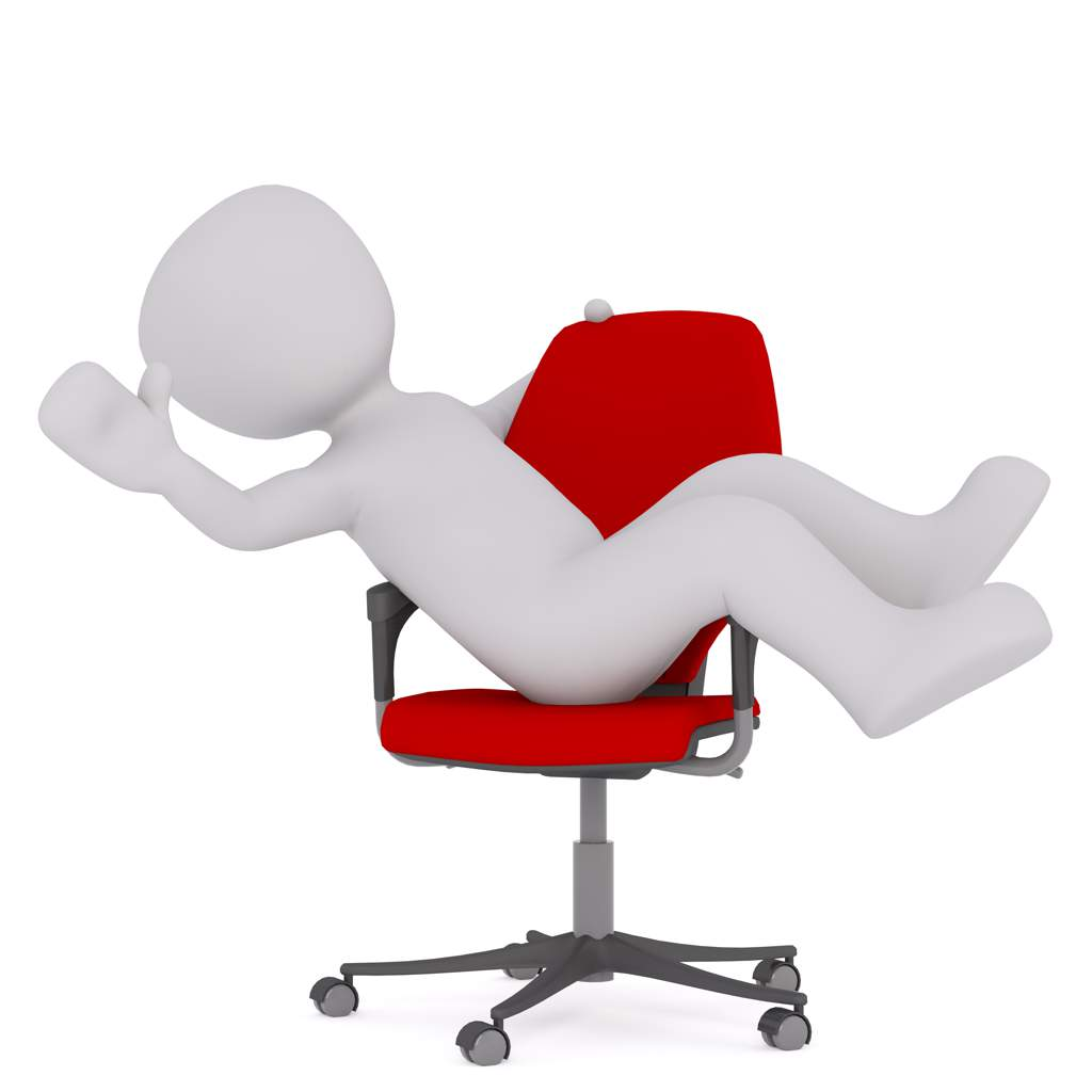 A white human figure reclining on a red office chair and waving (computer illustration).