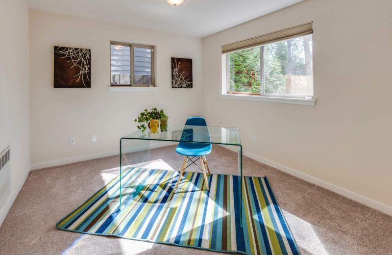 Very modern looking glass desk with a plant and a blue chair sitting on a striped rug in a room with two windows.