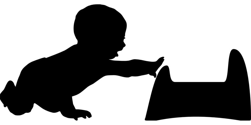 Illustration of a silhouette of a baby reaching for a potty.