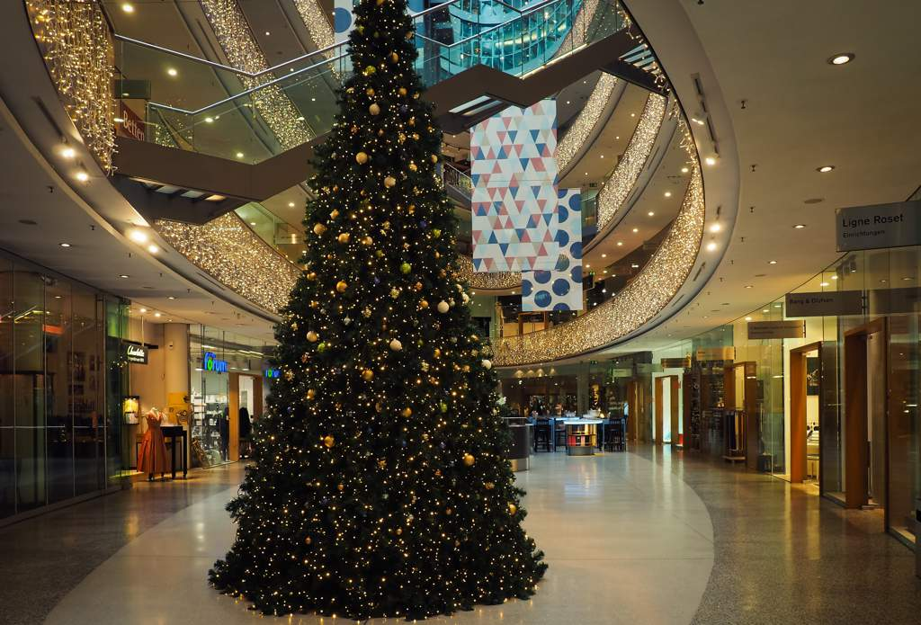 Large Christmas tree in a shopping center.