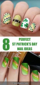 Upper photo shows fingernails with St Patricks Day designs including a leprechaun buckle and shamrocks. The lower photo shows fingernails with green and gold sparkly design in colors that evoke the Irish flag.