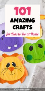 Painted paperzoo animal faces including a purple hippo, orange lion and green frog. Text overlay reads 101 amazing crafts for kids to do at home