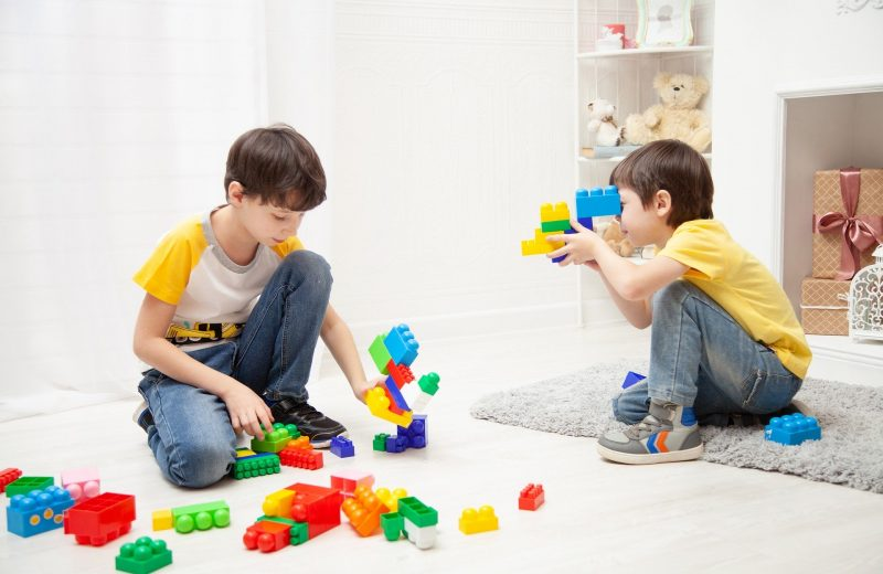 Two boys playing with plastic bricks in a white room.