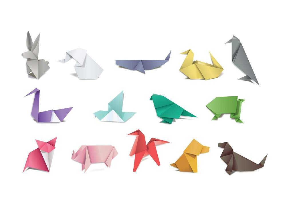 Drawings of 14 differently colored origami birds and animals.
