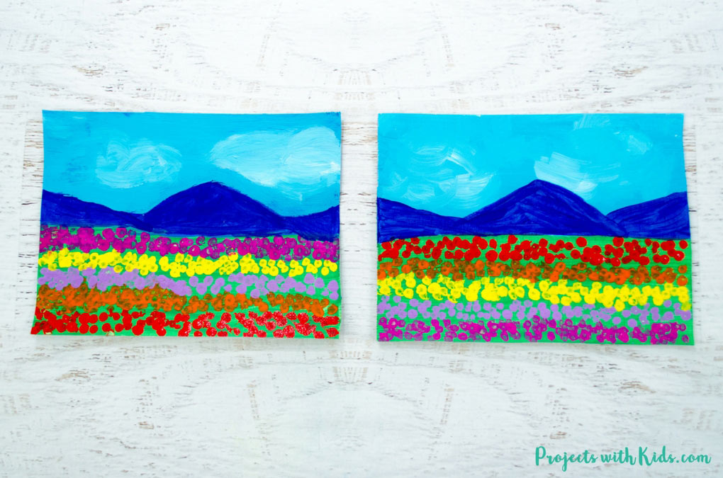 Two paintings side-by-side with blue mountains and rows of different colored-dots representing tulips in the foreground.