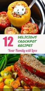 Image of stuffed bell peppers on top and image of meat loaf and vegetables underneath, separated by text which reads: 12 Delicious Crockpot Recipes Your Family will Love.