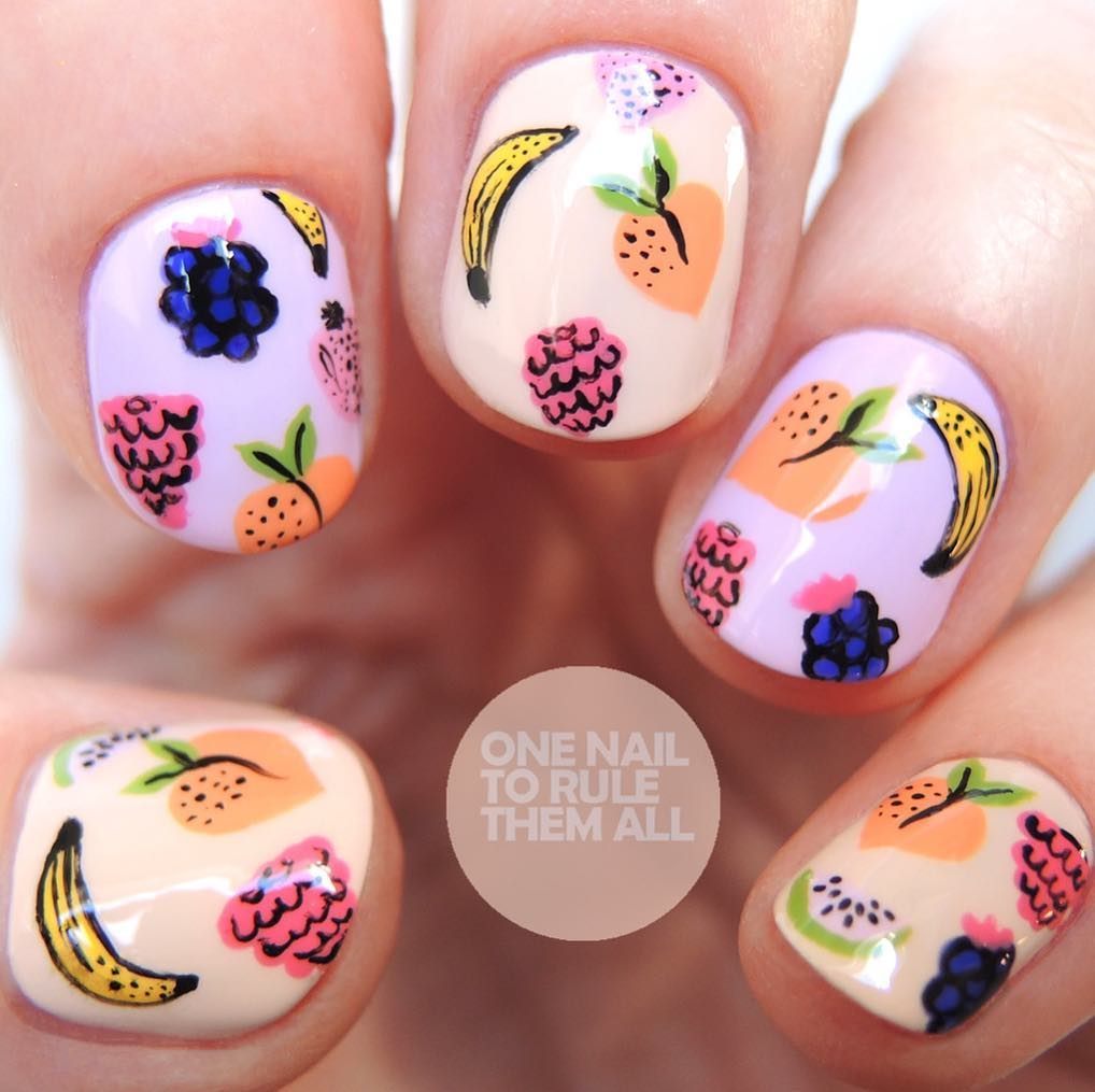 Painted figernails with summer fruit patterns