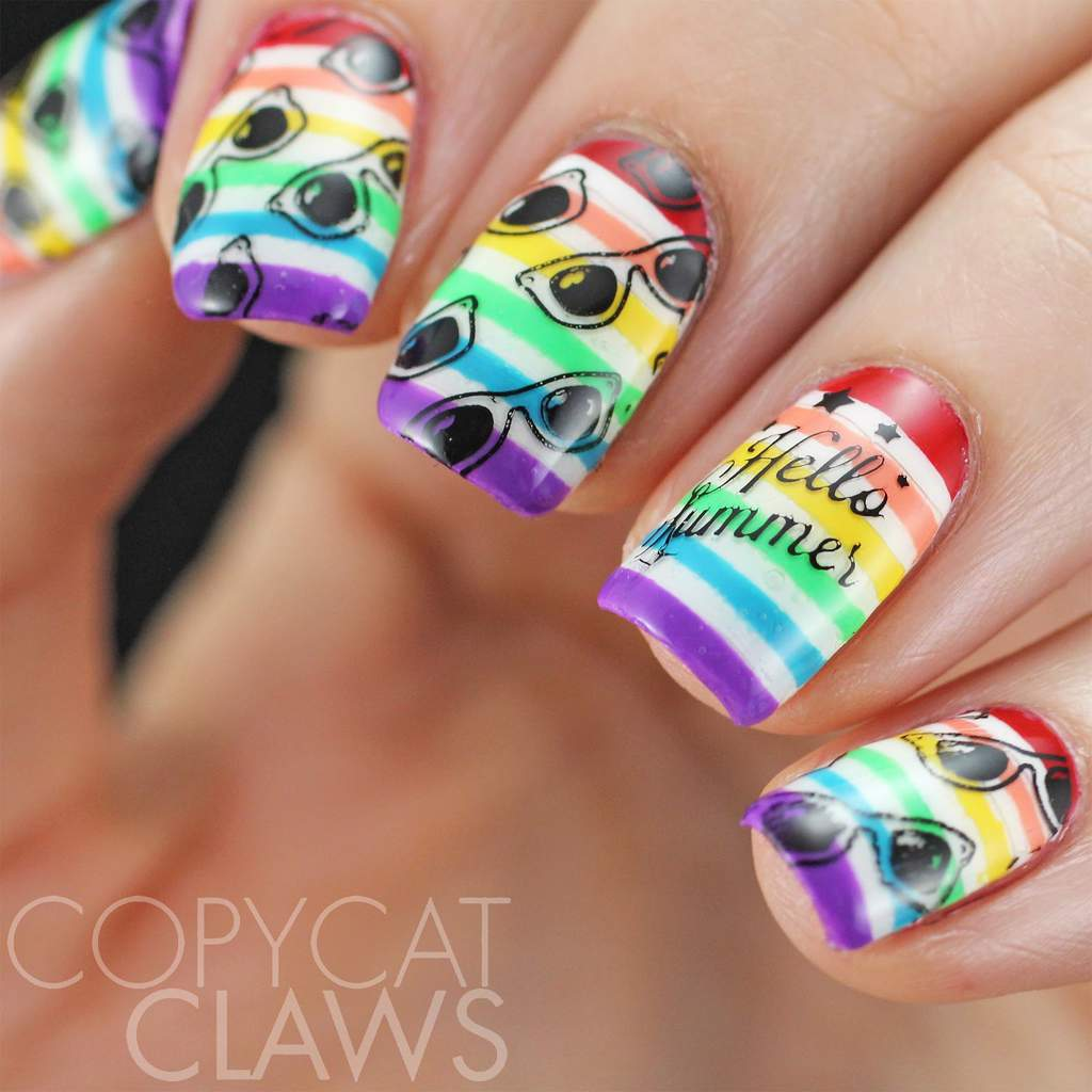 Decorated nails with horizontal multi-colored stripes and black sunglasses overlay. One nail has Hello Summer message.